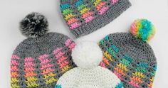 My Hobby Is Crochet: Prisma Hat - Free Crochet Pattern in multiple sizes If you love crocheting top down hats, the Prisma Hat is just what you're looking for! It looks beautiful in rainbow colors, but you can use the colors of your choice. Knitted Headband Free Pattern, Crochet Mittens Free Pattern, Crochet Kids Hats, Crochet Socks, Crochet Gifts, Knitting Patterns Free, Free Crochet, Crochet Patterns, Hat Patterns