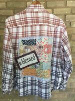 Unique Artsy Flannel Shirt M L Upcycled Boho Bleached Lagenlook Art To Wear | eBay
