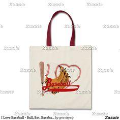 I Love Baseball - Ball, Bat, Baseball Glove Tote Bag #Sports4you #Gravityx9 -