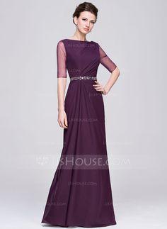 Vestidos princesa/ Formato A Decote redondo Longos De chiffon Vestido para a mãe da noiva com Pregueado Bordado Lantejoulas (008058417)