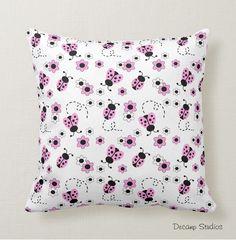 LADYBUG THROW PILLOW Pink Baby Girl Nursery Crib Bedding Room Decor