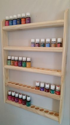 Image of Essential Oil Wall Rack/Hanging Shelf Organizer - UNIQUE Double Holes for both size bottles