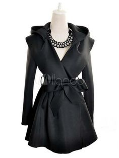 Chic Long Sleeve Hooded Trench Coat-No.1