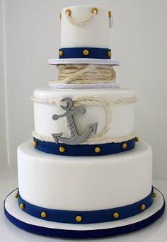 Nautical wedding cake - inspired by spools of rope and brass rivets
