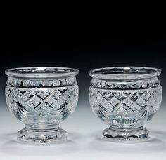 Mid Victorian Cut Glass Salt Cellars Salt Cellars, Antique Glass, Salts, Cut Glass, Spoons, Dips, Container, Victorian, Antiques