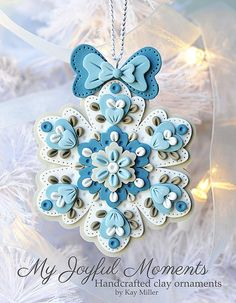 Handcrafted Polymer Clay Ornament by MyJoyfulMoments on Etsy Polymer Clay Ornaments, Fimo Clay, Polymer Clay Charms, Polymer Clay Projects, Polymer Clay Creations, Clay Crafts, Polymer Clay Jewelry, Polymer Clay Christmas, Clay Design
