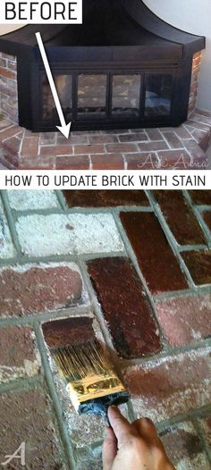 How to update a brick fireplace surround the easy way with concrete stain! - How to update a brick fireplace surround the easy way with concrete stain! Super cheap and budget f - Brick Fireplace, Fireplace Surrounds, Fireplace Remodel, Fireplace Design, Home Remodeling Diy, Home Renovation, Kitchen Remodeling, Cheap Remodeling Ideas, Cheap Renovations