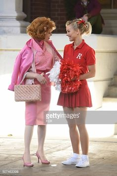 Carly Rae Jepsen as 'Frenchy' and Julianne Hough as 'Sandy' rehearse for