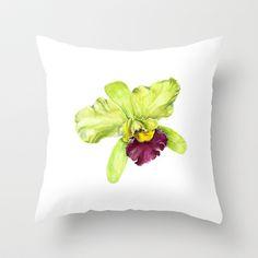Magenta & Green Dendrobium Orchid Throw Pillow by Cindy Lou Bailey  - $20.00.  A magenta & green Dendrobium Orchid, painted in watercolor by Cindy Lou Bailey.