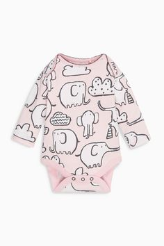 Buy Pink/Grey Elephant All Over Print Long Sleeve Bodysuits Three Pack (0mths-2yrs) from the Next UK online shop