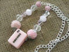 Pink Mahjong Necklace - Mahjong Chain Necklace - Oriental Jewelry by MahjongJewelry on Etsy