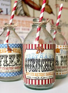 Vintage Circus Drink Bottle Labels INSTANT DOWNLOAD by Sassaby #Circus