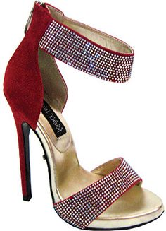 Women's Highest Heel Sultry-21 Ankle Strap - Red Suede PU Sandals