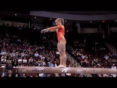 Shawn Johnson gif. 2008 Visa Championships Day 1 beam standing full twisting tuck back #gymnastics