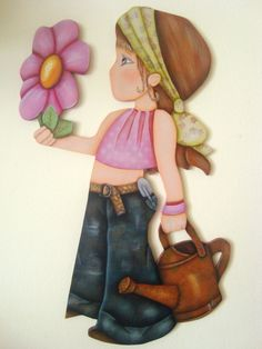 Menina jardineira, pintura em MDF.