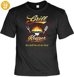 T-Shirt - Grill Keeper - Am Grill bin ich der Chef - lustiges Sprüche Shirt für Grill Fans mit Humor - Geschenk Set mit Funshirt und Minishirt (*Partner-Link)