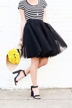 So, I've pretty much had a crush on all the tulle skirts I've been seeing online for quite sometime now. They are just so flirty and fun, and I love seeing them worn with a casual t-shirt and a leathe