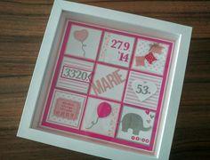 Ribba Rahmen von Ikea, personalisiert als Geschenk zur Geburt (rosa, pink, grau, Mädchen, Herz, Elefant, Luftballlon, JM Creation, Rayher, mft, Stampin Up)