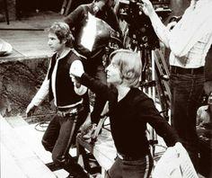 Harrison Ford and Mark Hamill prepare for a scene.