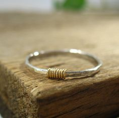 Stacker Rings Sterling Silver Hammered with Gold Filled Wrap Single Ring Stacking Rings Collection 1300 via Etsy Sterling Silver Toe Rings, Hammered Silver, Silver Rings, Silver Bracelets, Jewelry Stores Near Me, Tungsten Wedding Bands, Thumb Rings, Bagan, White Gold Diamonds