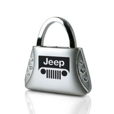 Clear Crystals Purse Jeep Grill Logo Key Chain
