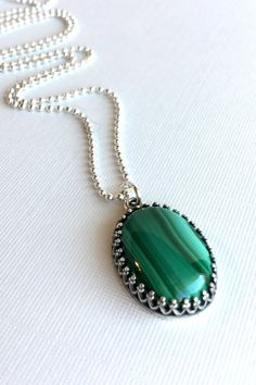 Green Malachite Necklace, Oval Natural Stone Pendant, Emerald Green Gemstone Necklace, Long Silver Chain, Emerald Green Pendant Necklace on Etsy