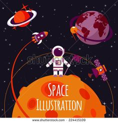 Space concept with astronaut on moon and rocket satellites on orbit flat vector illustration