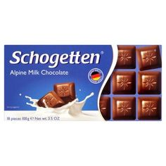 Schogetten Mléčná čokoláda 100g Something Sweet, Food And Drink, Milk, Chocolate, Drinks, Foods, Sweet, Childhood Memories, Drinking