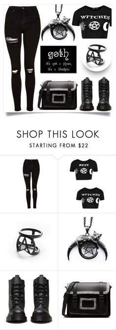 """""""Trickeryco!"""" by samra-bv ❤ liked on Polyvore featuring Topshop, Boohoo, Coven, Dr. Martens, goth, witchy and trickeryco"""