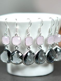 Pink gray -, Gold Pink charcoal gray wedding jewelry EARRINGS