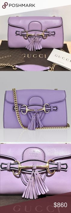 Authentic GUCCI Leather Emily Chain Shoulder Bag This like new condition Gucci Lavender Leather Emily Chain Small Shoulder Bag is the perfect evening accessory! This particular shoulder bag features sleek lines, luxurious leather, leather tassels and goldtone horsebit hardware. The bag comes with a long chain strap and leather shoulder pad. The chain-link strap can be worn on the shoulder, cross-body or tucked in to be carried as a clutch. The shoulder bag is in pristine condition with…