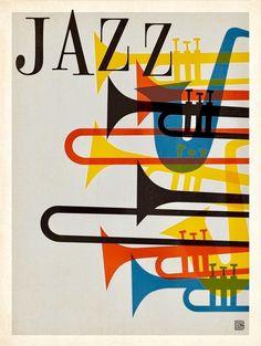 jazz music spirit sax trumpet horn saxophone french beatnik vintage retro hip hep poster graphic red blue yellow black festival the spirit of Jazzzzzzzzzzzzzzzz Arte Jazz, Jazz Art, Poster Jazz, Plakat Design, Kunst Poster, Poster Design, Festival Posters, Jazz Festival, Art Graphique