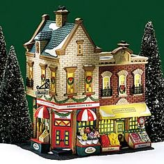 """Department 56: Products - """"Johnson's Grocery & Deli"""" - View Lighted Buildings. Retired Christmas in the city"""
