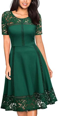 Shop the latest collection of MISSMAY Women's Vintage Floral Lace Contrast Elegant Cocktail Swing Dress from the popular stores - all in one Knee Length Dresses, Day Dresses, Cute Dresses, Casual Dresses, Summer Dresses, Vintage Style Dresses, Elegant Dresses, Batik Dress, Lace Dress