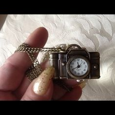 """""""VOGUE"""" RETRO STYLED CAMERA WATCH NECKLACE Unique Camera style brass colored watch necklace.  On a 32"""" brass colored chain. *NWOT Jewelry Necklaces"""