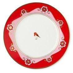 Pip Studio Love Birds Pink/Red plate 17cm