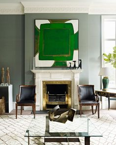 Add Art and Accessories. Emerald abstract. Interior Designer: Douglas Mackie.