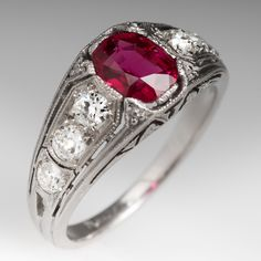 1920's Art Deco No Heat Ruby Ring w/ Old Diamond Accents