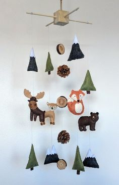 Woodland Animal Baby Mobile Mountain Baby Mobile Woodland Nursery Baby Boy Mobile Felt Mobile Woodland Mobile Woodland decor - Baby boy mobile, Woodland baby, B - Baby Bedroom, Baby Boy Rooms, Baby Boy Nurseries, Nursery Room, Baby Boys, Baby Nursery Ideas For Boy, Bedroom Black, Modern Nurseries, Lego Bedroom
