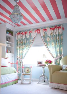 The striped ceiling in this colorful kid's room is amazing! What a fun & feminine girl's bedroom. My New Room, My Room, Spare Room, Striped Ceiling, Pink Ceiling, Ceiling Curtains, Ceiling Color, Ceiling Design, Ceiling Chandelier