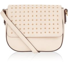 Accessorize Rizzo Studded Saddle Bag ($39) ❤ liked on Polyvore featuring bags, handbags, shoulder bags, chain strap purse, pink shoulder bag, studded handbags, chain purse and shoulder strap handbags