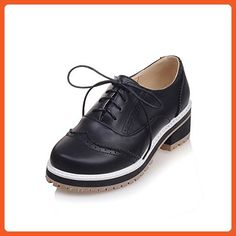 AdeeSu Ladies Hollow Out Bandage Square Heels Microfiber Oxfords Shoes B073SYCCRP
