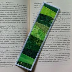 quilted bookmarks | Quilted Fabric Bookmark Green Patchwork by Lucismiles on Etsy