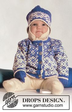 Winter Star / DROPS Baby 3-11 - DROPS jacket with Norwegian pattern, pants, hat and mittens in Baby Merino.