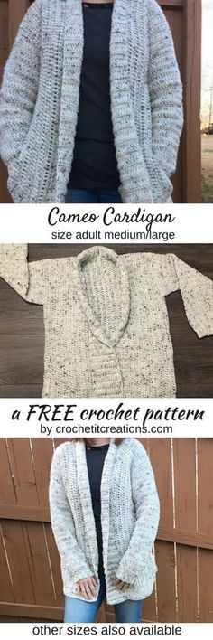 Cameo Cardigan Crochet Pattern by Crochet It Creations comes in 3 adult sizes with child sizes coming soon