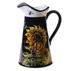 French Sunflowers 2.75-quart Ceramic Pitcher