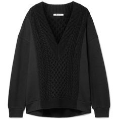 T by Alexander Wang Oversized cable-knit paneled cotton-blend sweater (€545) ❤ liked on Polyvore featuring tops, sweaters, woven top, plunging neckline tops, layered tops, t by alexander wang sweater and cable sweaters