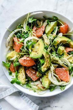 The Sicilian-inspired salad's flavor combination of fennel's sweet licorice flavor, juicy tart grapefruit and smooth avocado topped with salty Parmesan is a welcome addition to any meal any time of the year. Grapefruit Recipes, Grapefruit Salad, Fennel Recipes, Fennel Salad, Salad Recipes, Pink Grapefruit, Juice Recipes, Thanksgiving Side Dishes, Thanksgiving Recipes