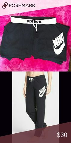 Nike Womens Rally French Terry Black Sail Foldover Nike terry sweats - regular fit. Size small. Worn only a few times. Perfect condition folded over waist band says JUST DO IT on front and back. Drawstrings and normal sweat pants elastic at the ankle. Nike Pants Track Pants & Joggers