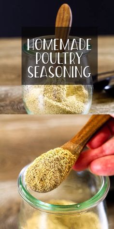 Homemade Poultry Seasoning Poultry Seasoning is best when homemade and it is super easy to make. The ingredients are most likely in your pantry right now and make the perfect blend to add flavor to chicken, turkey, vegetables, and soups! Homemade Dry Mixes, Homemade Spice Blends, Homemade Spices, Homemade Seasonings, Spice Mixes, Turkey Seasoning, Vegan Chicken Seasoning Recipe, Poultry Rub Recipe, Dry Rubs